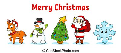 Set of cartoon characters. Fairytale Christmas tree, Santa Claus with gifts, cute deer, snowman, blue snowflake. Happy New Year and Merry Christmas. Hand drawn. Color vector isolated illustration.