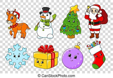Set of cartoon characters. Fairytale tree, Santa Claus with gifts, cute deer, snowman, sock, snowflake, ball, gift. Happy New Year and Merry Christmas. Hand drawn. Color vector isolated illustration.