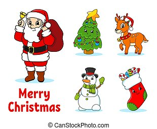 Set of cartoon characters. Fairytale tree, Santa Claus with gifts, cute deer, snowman, sock with gifts and sweets. Happy New Year and Merry Christmas. Hand drawn. Color vector isolated illustration.
