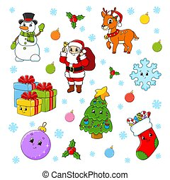 Set of cartoon characters. Happy Christmas tree, Santa Claus, deer, snowman, gift boxes, sock, snowflake, ball. New Year and Merry Christmas. Hand drawn. Color vector isolated illustration.