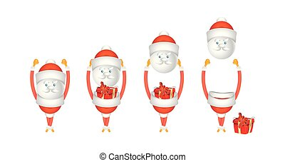 Set of cartoon characters Santa Claus with gift isolated on white background. Vector for christmas and new year