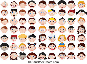 Set of cartoon children head - Vector illustration of Set of...