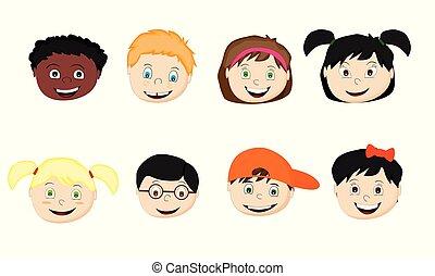 set of cartoon children of different nationalities