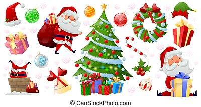 Set of cartoon Christmas elements