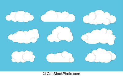 Set of cartoon clouds on a blue sky background. Vector illustration