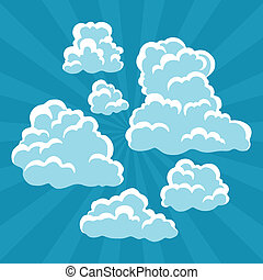 Set of cartoon clouds on sky and rays.