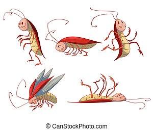 Set of cartoon cockroaches