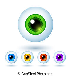 Set of Cartoon Colorful Eyes