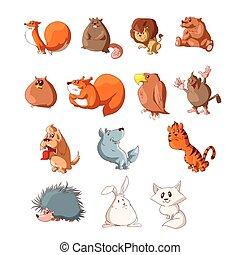 Set of cartoon cute animals