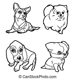 Dogs wagging tails coloring page. Black and white cartoon ...