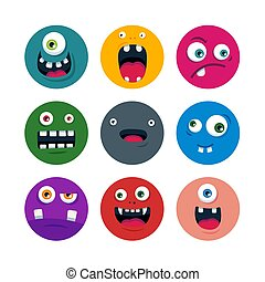 set of cartoon cute monster faces. flat vector illustration
