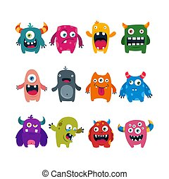 set of cartoon cute monsters. flat vector illustration