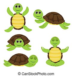 Set of cartoon cute turtle. Funny little turtles
