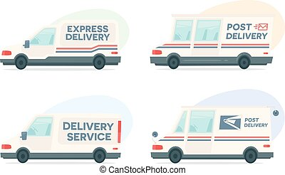 Set of cartoon delivery post car. Vector courier and shipping symbol. Vector auto, trailer and van design template. Isolated objects on white background in flat style.
