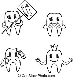 Set of cartoon dents