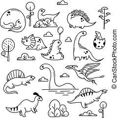 Set of cartoon dinosaur in doodle style isolated on white background
