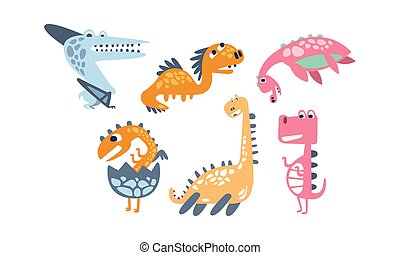 Set of cartoon dinosaurs. Vector illustration on a white background.