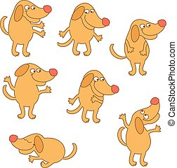 Set of cartoon dog