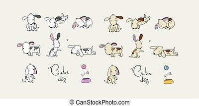 Set of cartoon dogs. Happy pets. ZOO