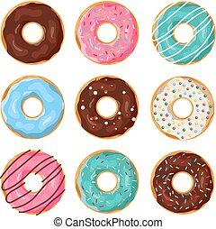 Set of cartoon donuts