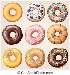 Set of cartoon donuts. Vector illustration