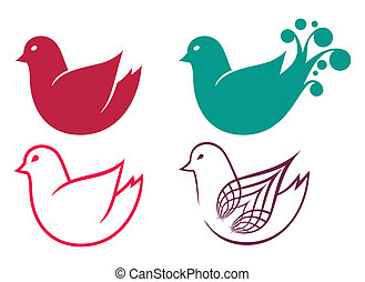 Set of cartoon doodle birds icons