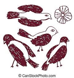 Set of cartoon doodle birds.