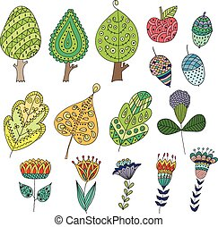 Set of cartoon, doodle trees, flowers, fruits, leaves.