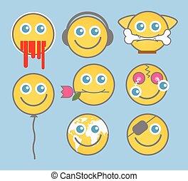Set of Cartoon Emoticons Vector
