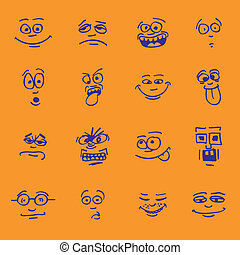 set of cartoon emotion on faces