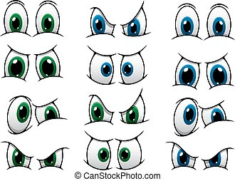 Set of cartoon eyes with blue and green irises showing various expressions from anger, through surprise to a frown