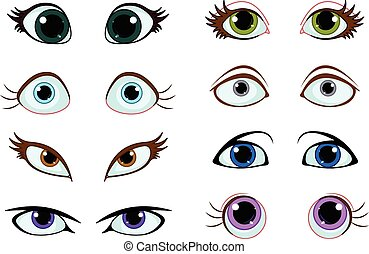Set of cartoon eyes with different expressions