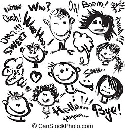 Set of Cartoon faces with different emotions. Handdrawn...