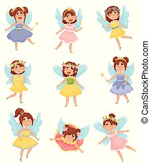 Set of cartoon fairies with wings in colorful dresses. Vector illustration on a white background.