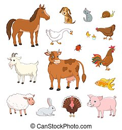 set of cartoon farm animals and poultry on white