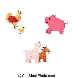 Set of cartoon farm animals - chicken, pig, goat