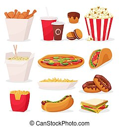 Set of cartoon fast food icons on white background