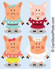 set of cartoon female pigs - Set of funny cartoon female...