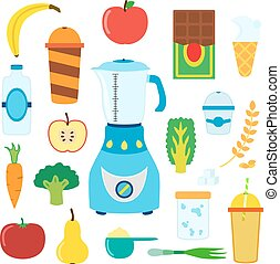 Set of cartoon food for smoothie with blender, mixer