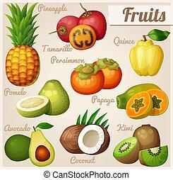 Set of cartoon food icons. Exotic fruits