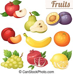 Set of cartoon food icons. Fruits isolated on white background