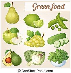 Set of cartoon food icons. Green food