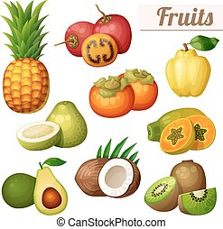 Set of cartoon food icons isolated on white background. Exotic fruits