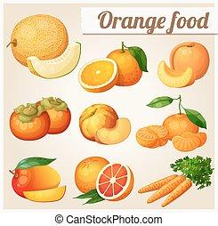 Set of cartoon food icons. Orange food