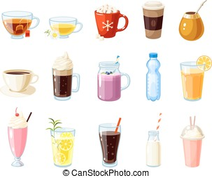 Set of cartoon food: non-alcoholic beverages - tea, herbal...