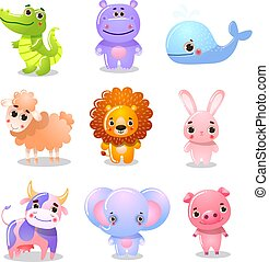 Set of cartoon funny cute animal children vector illustration