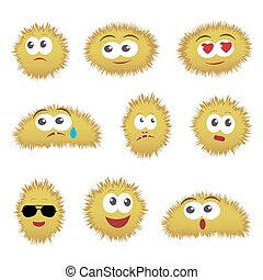 Set of cartoon funny emoticons