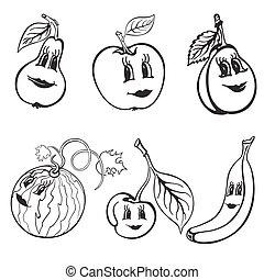 Set of cartoon funny fruits