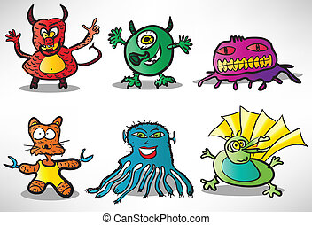 Set of cartoon funny monsters 2