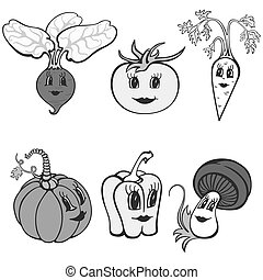 Set of cartoon funny vegetables